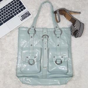 Kenneth Cole aqua large tote leather shoulder bag